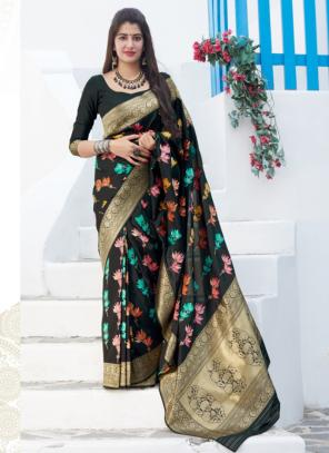Wedding Wear Black Weaving Silk Heavy Saree