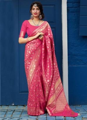 Wedding Wear Dark Pink Weaving Heavy Silk Saree
