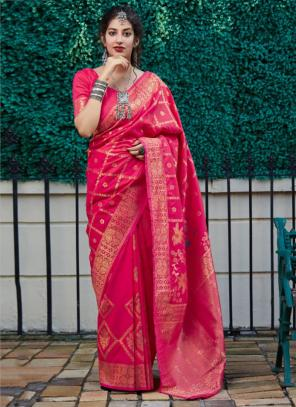 Wedding Wear Rani Fancy Weaving Silk Heavy Saree