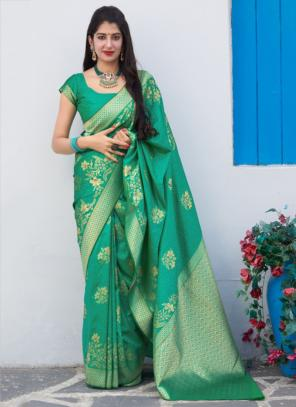 Wedding Wear Teal Weaving Silk Heavy Saree