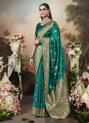 Wedding Wear Green Weaving Banarasi Silk Saree