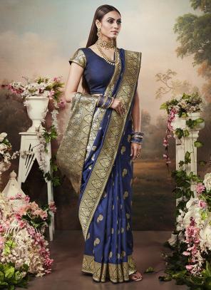 Wedding Wear Navy Blue Heavy Weaving Banarasi Silk Saree