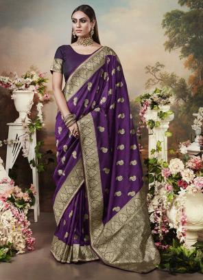Wedding Wear Purple Heavy Weaving Banarasi Silk Saree