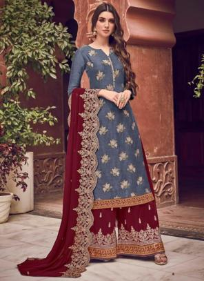 Wedding Wear Grey Embroidery Work Dola Jacquard Palazzo Suit