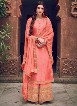 Wedding Wear Light Pink Embroidery Work Pure Dola Jacquard Palazzo Suit