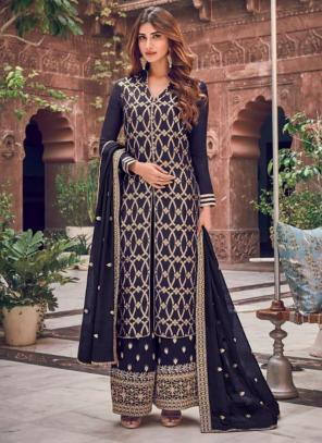 Wedding Wear Navy Blue Embroidery Work Dola Pure Jacquard Palazzo Suit