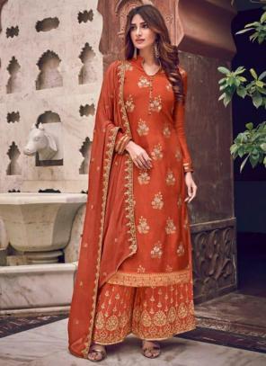 Wedding Wear Orange Embroidery Work Pure Dola Jacquard Palazzo Suit