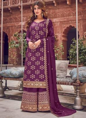 Wedding Wear Purple Embroidery Work Pure Dola Jacquard Palazzo Suit
