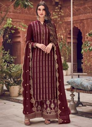 Wedding Wear Wine Embroidery Work Pure Dola Jacquard Palazzo Suit