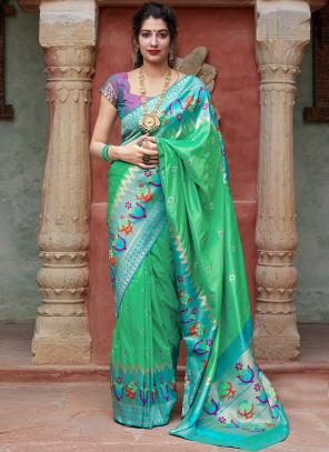 Party Wear Light Green Weaving Silk Heavy Saree