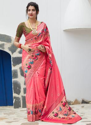 Party Wear Light Pink Weaving Silk Heavy Saree