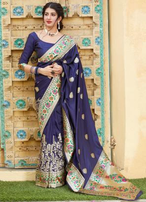Party Wear Navy Blue Weaving Silk Heavy Saree