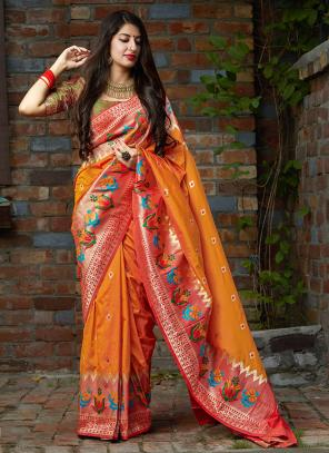 Party Wear Orange Weaving Silk Heavy Saree