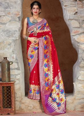 Party Wear Red And Blue Weaving Silk Heavy Saree