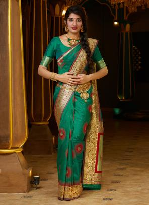 Party Wear Teal Weaving Silk Heavy Saree
