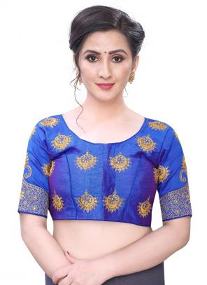 Wedding Wear Blue Diamond Work Phantom Silk Blouse
