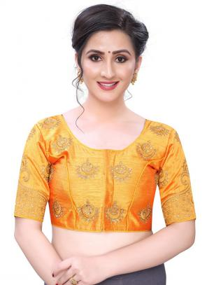 Wedding Wear Mustard Diamond Work Phantom Silk Blouse