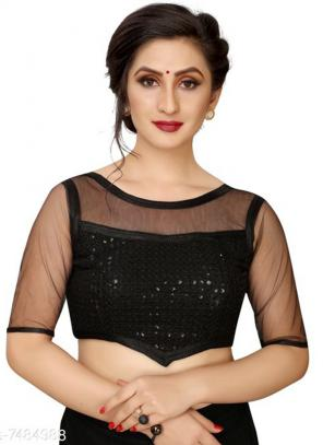 Party Wear Black Sequins Work Fancy Readymade Blouse