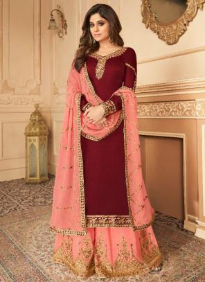 Party Wear Maroon Embroidery Work Silk Satin Palazzo Suit