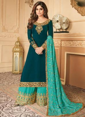 Party Wear Rama Embroidery Work Silk Satin Palazzo Suit