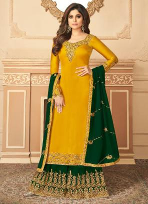Party Wear Yellow Embroidery Work Silk Satin Palazzo Suit