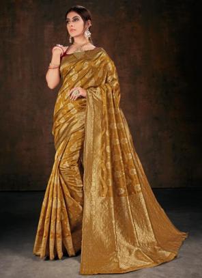 Festival Wear Golden Weaving Banarasi Silk Saree