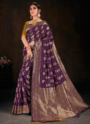 Festival Wear Purple Fancy Weaving Banarasi Silk Saree