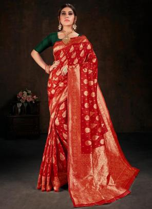 Festival Wear Red Fancy Weaving Banarasi Silk Saree