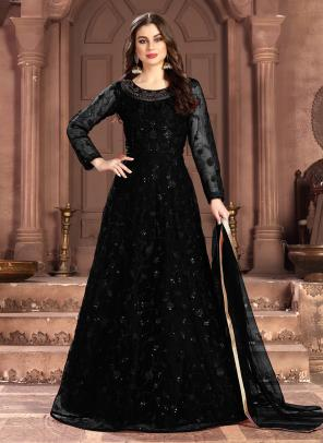Wedding Wear Black Net Sequins Work Anarkali Suit