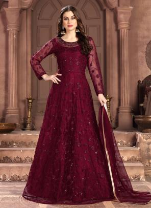 Wedding Wear Maroon Net Sequins Work Anarkali Suit