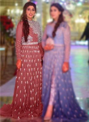Wedding Wear Pink Embroidery Work Net Pakistani Suit