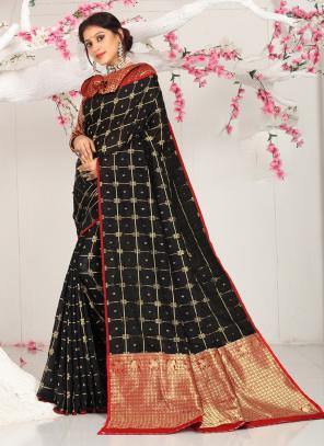 Casual Wear Black Weaving Cotton Saree