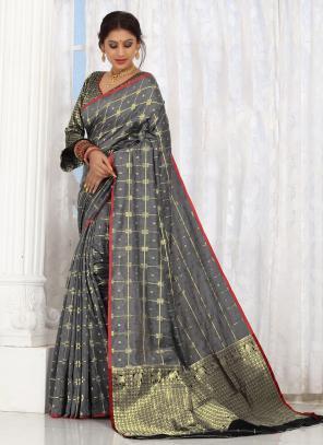 Casual Wear Grey Weaving Cotton Saree