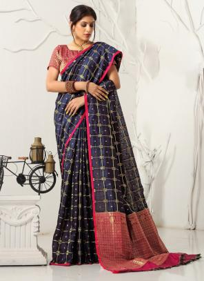 Casual Wear Navy Blue Weaving Cotton Saree