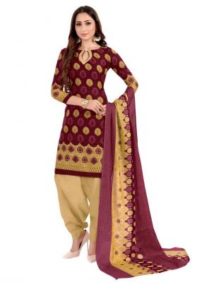 Daily Wear Maroon Printed Work Cotton Patiyala Suit