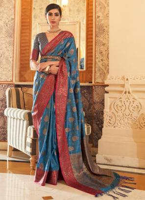 Party Wear Blue Weaving Tussar Silk Saree