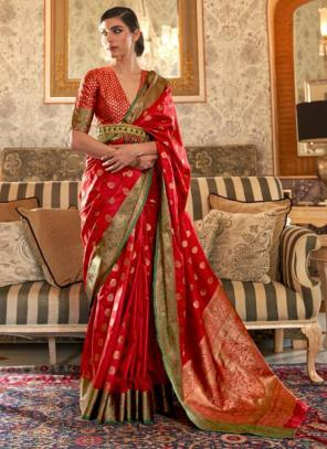 Party Wear Red Weaving Tussar Silk Saree