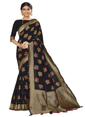 Traditional Wear Black Weaving Art Silk Saree