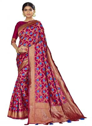 Traditional Wear Dark Pink Weaving Art Silk Saree