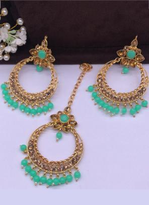 Teal Green Pearls And Diamond Earrings With Maang Tikka Online Shopping