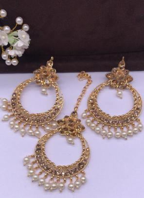 Cream Pearls And Diamond Earrings With Maang Tikka Online Shopping