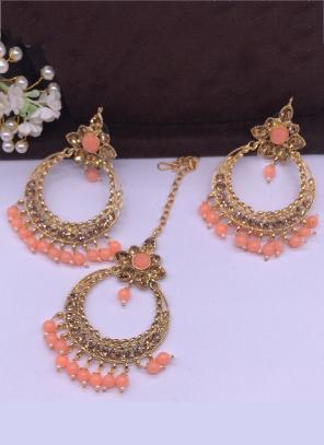 Peach New Pearls And Diamond Earrings With Maang Tikka Online Shopping