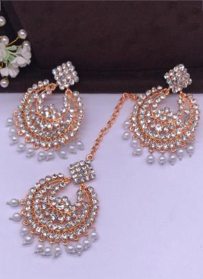 Rose Gold Pearls And Diamond Earrings With Maang Tikka Online Shopping