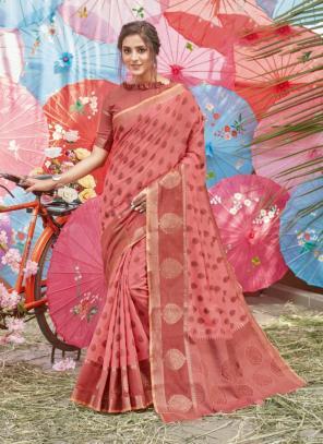 Traditional Wear Light Pink Handloom Cotton Saree