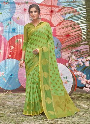 Traditional Wear Light green Handloom Cotton Saree