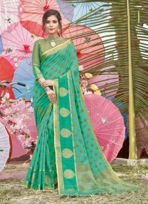 Traditional Wear Teal Green Handloom Cotton Saree