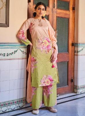 Traditional Wear Peach Digital Printed Corchet Readymade Salwar Suit