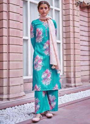 Traditional Wear Sky Blue Digital Printed Corchet Readymade Salwar Suit