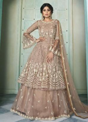 Wedding Wear Brown Embroidery Work Net Lehenga Suit
