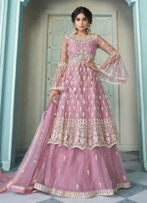 Wedding Wear Pink Embroidery Work Net Lehenga Suit